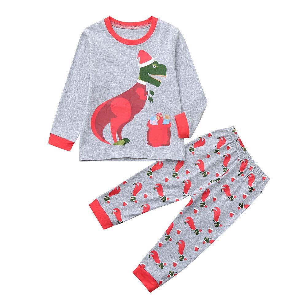 29086bb0b0cd Amazon.com  Clearance!! 2pcs Christmas Dinosaur Pajamas