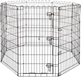 AmazonBasics Foldable Metal Pet Exercise and Playpen with Door, 42″ For Sale