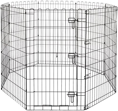 AmazonBasics Foldable Metal Pet Dog Exercise Fence Pen With Gate - 60 x 60 x 42 Inches (Best Small Indoor Dogs)
