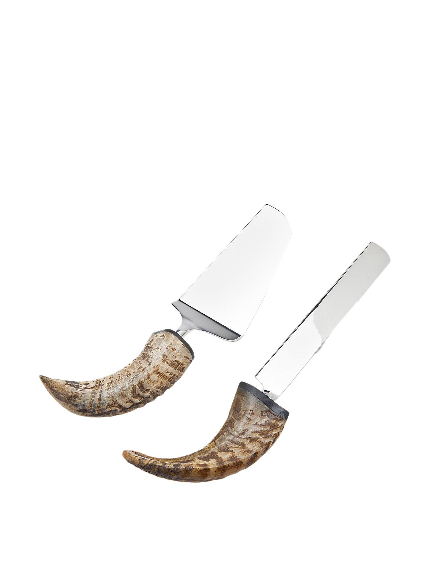 Godinger Silver Art Natural Animal Horn Nickel-plated Cake Knife Server Set