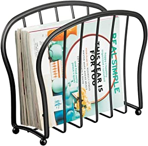 mDesign Decorative Metal Wire Magazine Holder, Organizer - Standing Rack for Magazines, Books, Newspapers, Tablets, Laptops in Bathroom, Family Room, Office, Den - Black