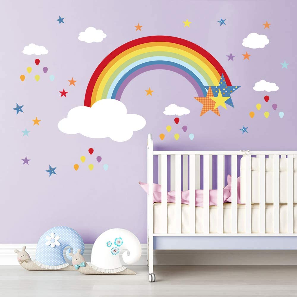 Amazon Com Decalmile Rainbow Wall Decals White Clouds Colorful Raindrops And Stars Wall Stickers Baby Nursery Kids Bedroom Wall Decor Kitchen Dining