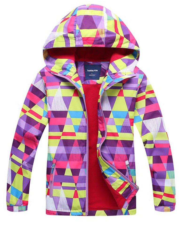 CADong Girls Outdoor Floral Fleece Lined Light Waterproof Windproof Jacket Hood