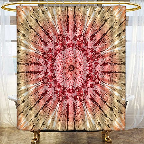 AmaPark Fabric Shower Curtain Tie Dye Gradient Circle with Spectral Pleats and Distressed Spots Red Brown Mildew Resistant Waterproof 54 x 78 inches - Savona Iron