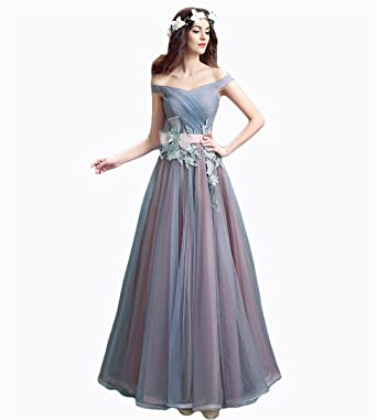 Drasawee Women off Shoulder Fineness Applique Bridesmaid Prom Dress Sweet Neckline Maxi Homecoming Evening Party Gowns
