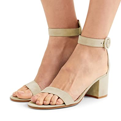 0dceff3e3ec FSJ Women Basic Open Toe Sandals with Block Heels Faux Suede Ankle Strap  Pumps Size 4
