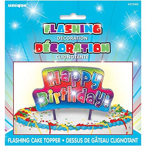 Flashing Rainbow Happy Birthday Pick Cake Topper -