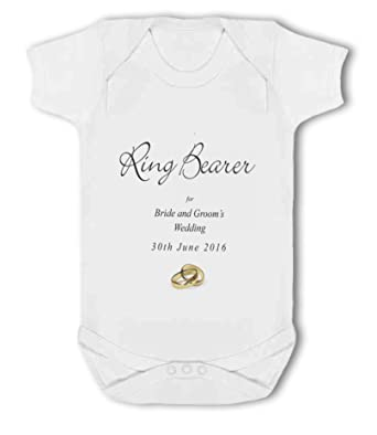 Baby Vest Ring Bearer at Bride and Grooms Wedding with personalised names