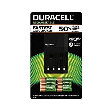 Duracell - Cargador de batería con AA recargable (6 unidades ...