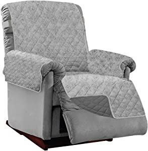 Sofa Shield Original Patent Pending Reversible Small Recliner Protector, Many Colors, Seat Width to 25 Inch, Furniture Slipcover, 2 Inch Strap, Chair Slip Cover Throw for Pets, Light Gray Charcoal