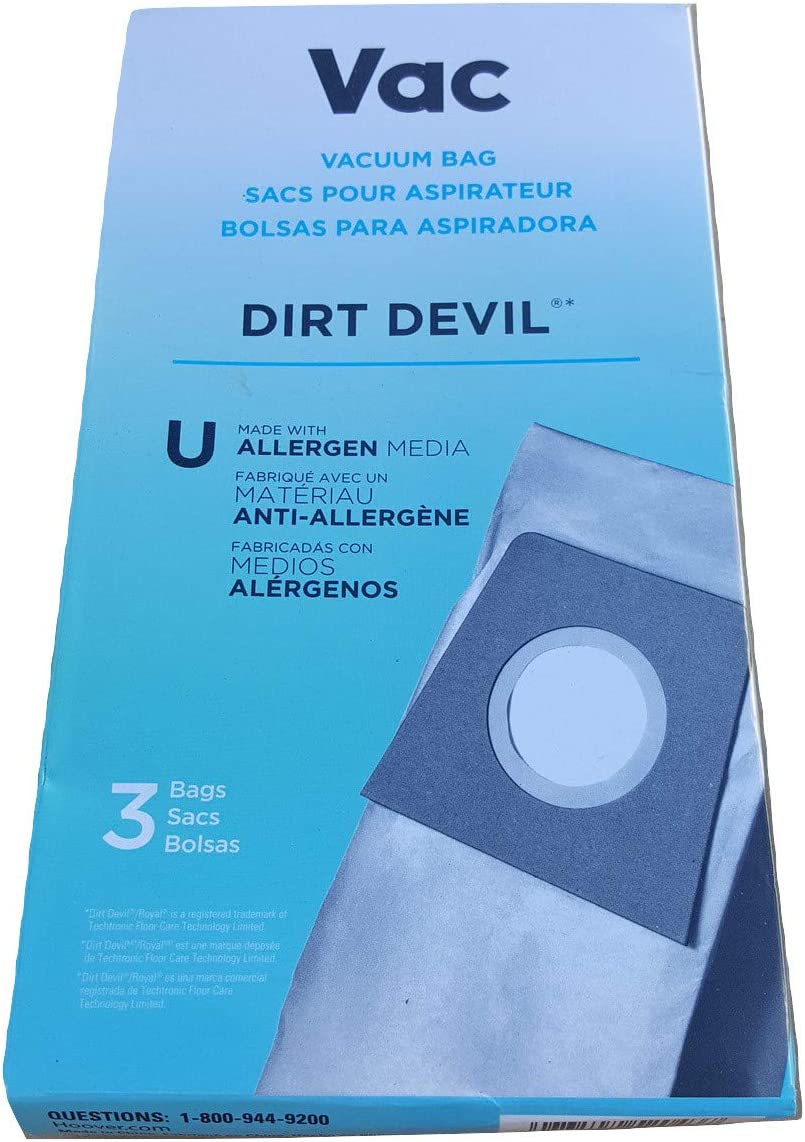 Dirt Devil Bags Type U with Allergen Media for Upright Vacuum Cleaners, AA15071, 3 Pack, White