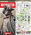 History Mapped Washington Presidential Map by VanDam: Laminated street map of Washington DC and history fold-out graphic of Washington's Life, 2019 Edition