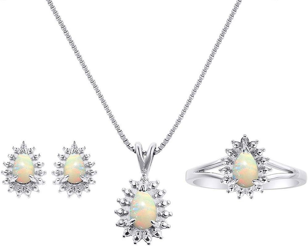 Pendientes de ópalo y diamante a juego, collar y anillo en plata de ley 925.