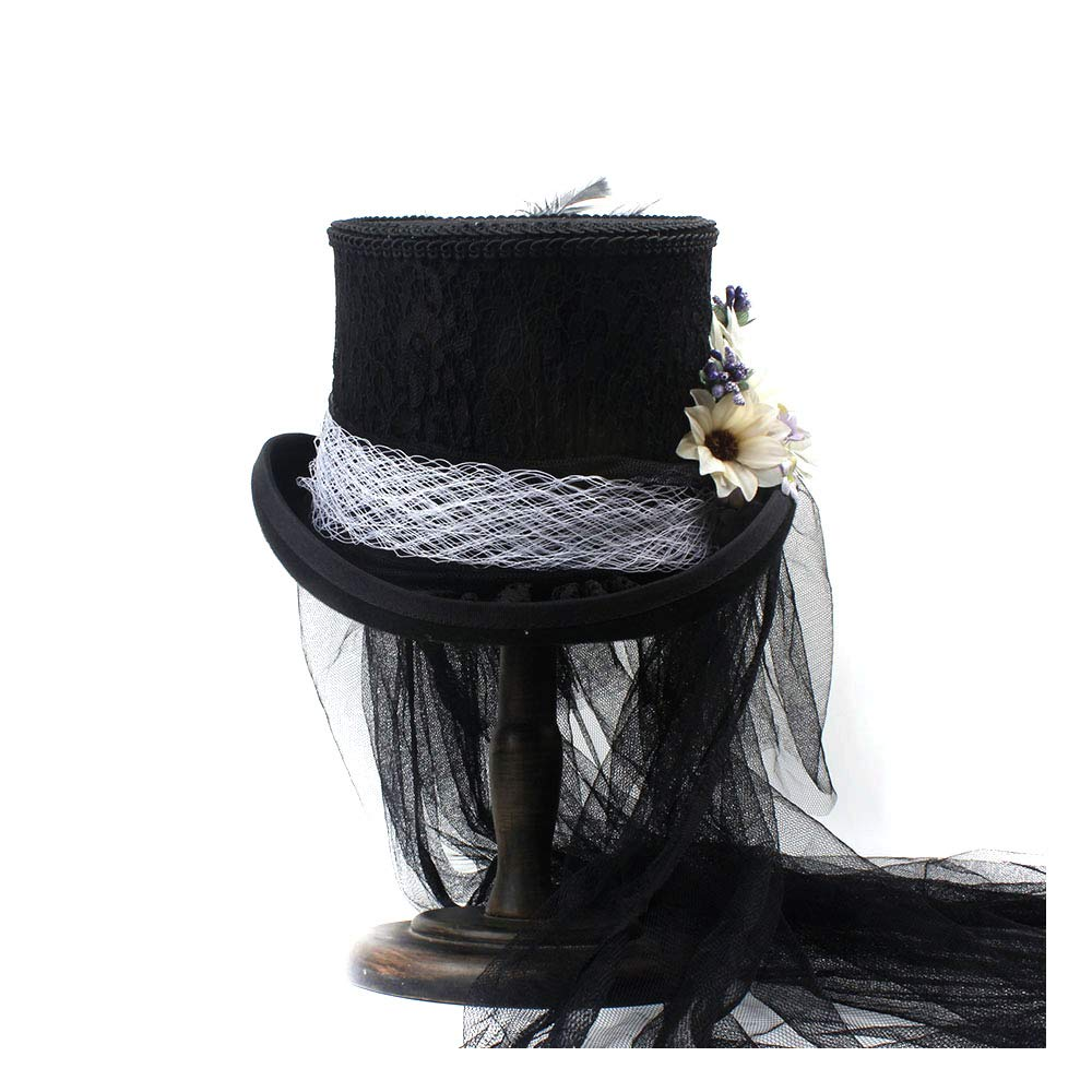 LL Women's Victorian Gothic Steampunk Wedding Top Hat Off White Ivory Hat, Rhinestone Gala Hat, Wedding Top Hat,Tea Party (Color : Black, Size : 55CM) by LL (Image #4)