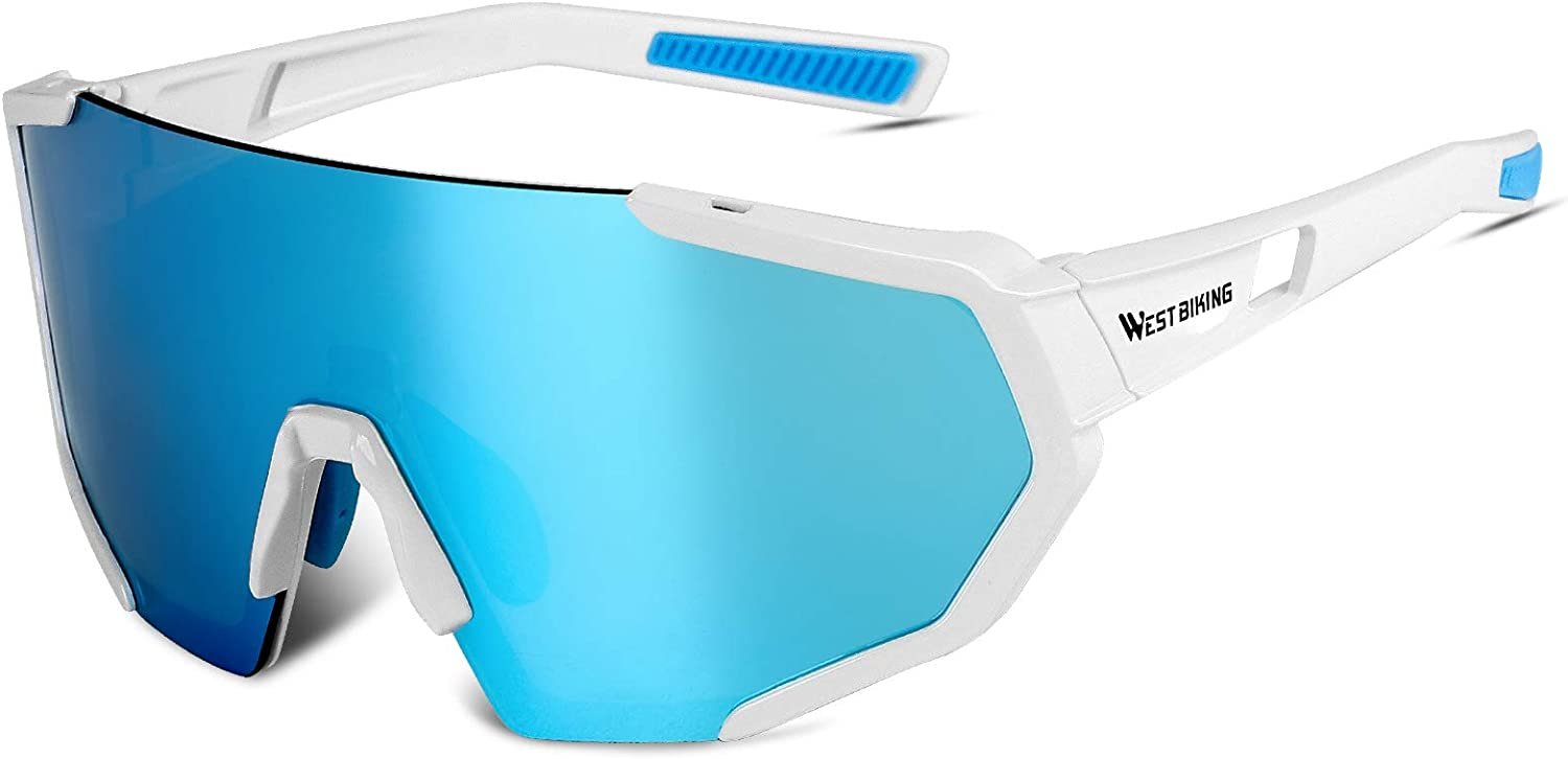 ICOCOPRO Polarized Sports Sunglasses,UV 400 Protection Sports Glasses,Cycling Sunglasses for Men Women with 3 Interchangeable Lenses,Outdoor Sport Goggles for Running Golf Fishing Hiking Baseball