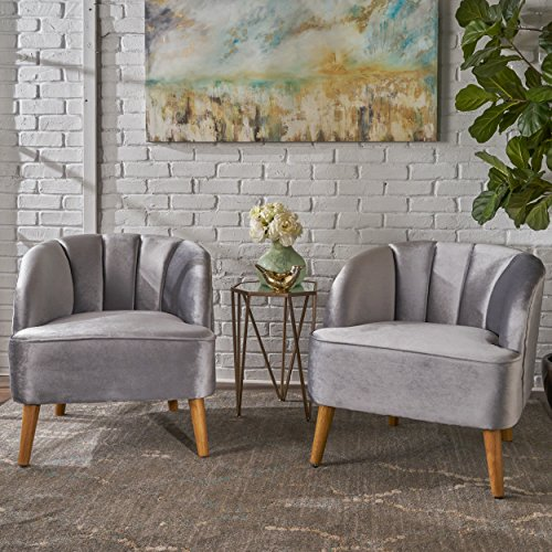 Christopher Knight Home 303561 Scarlett Modern Pewter Velvet Club Chairs (Set of 2), Walnut (Set Two Club Of Chairs)