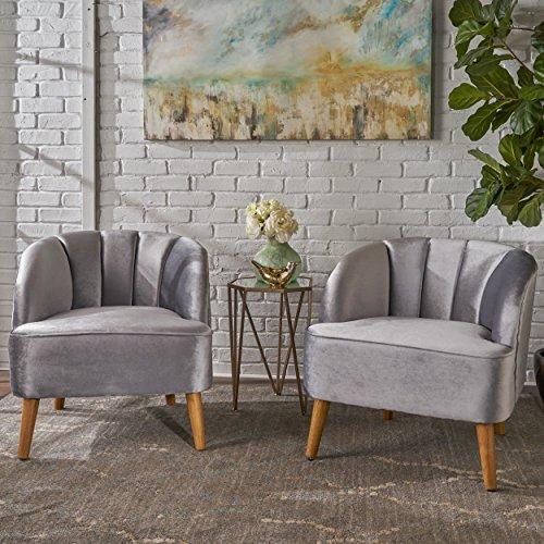 Christopher Knight Home Scarlett Modern Velvet Club Chairs Set of 2 , Pewter, Walnut