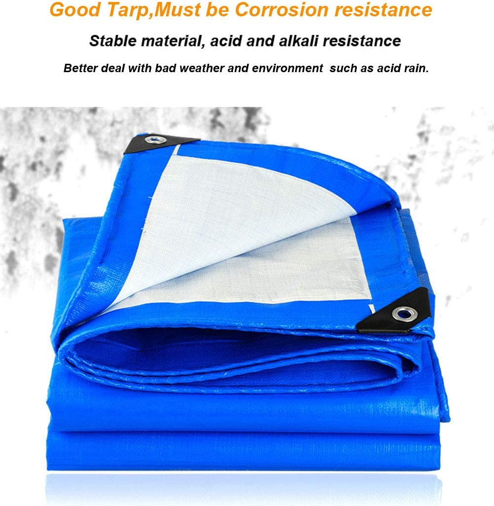 SOVIYAS Lona de alta resistencia Lona reforzada Ojales gruesos 4m x 6m 13ft x19ft (4x6m,150g/m²) Lona de PE Lona azul impermeable Hoja de cubierta de calidad superior Lona para acampar al aire