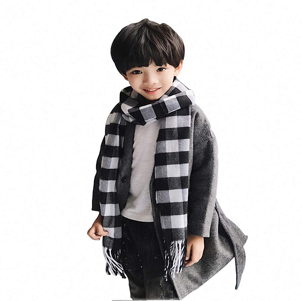 Kids Cashmere-Like Scarves Soft Plaid Warm Scarf Wrap Shawl for Boys Girls (A)