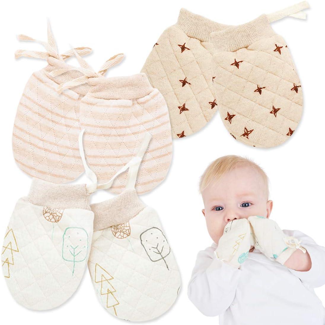 M Size: 0-2 Year Kalevel 3 Pairs No Scratch Mittens Newborn Gloves Soft Adjustable Drawstring Baby Mittens Winter Warm Unisex