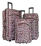 3pc Luggage Set Travel Bag Rolling Wheel Carryon Expandable Upright Giraffe Pink