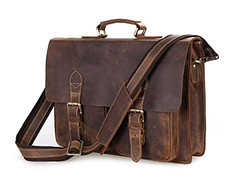 4e21f905ee30 Bags World YAAGLE High Quality Handmade shoulder bags 100% Crazy horse  HANDMADE Leather Men s Briefcase