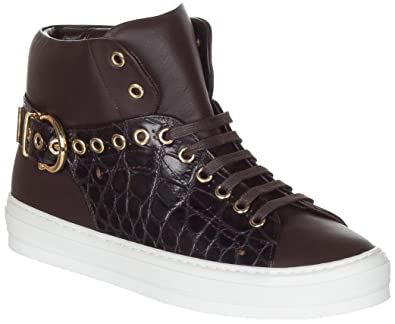 59ec2a6d8 Salvatore Ferragamo Women's Brown Pixy Studs Leather High Top Sneakers Shoes,  9.5, Brown