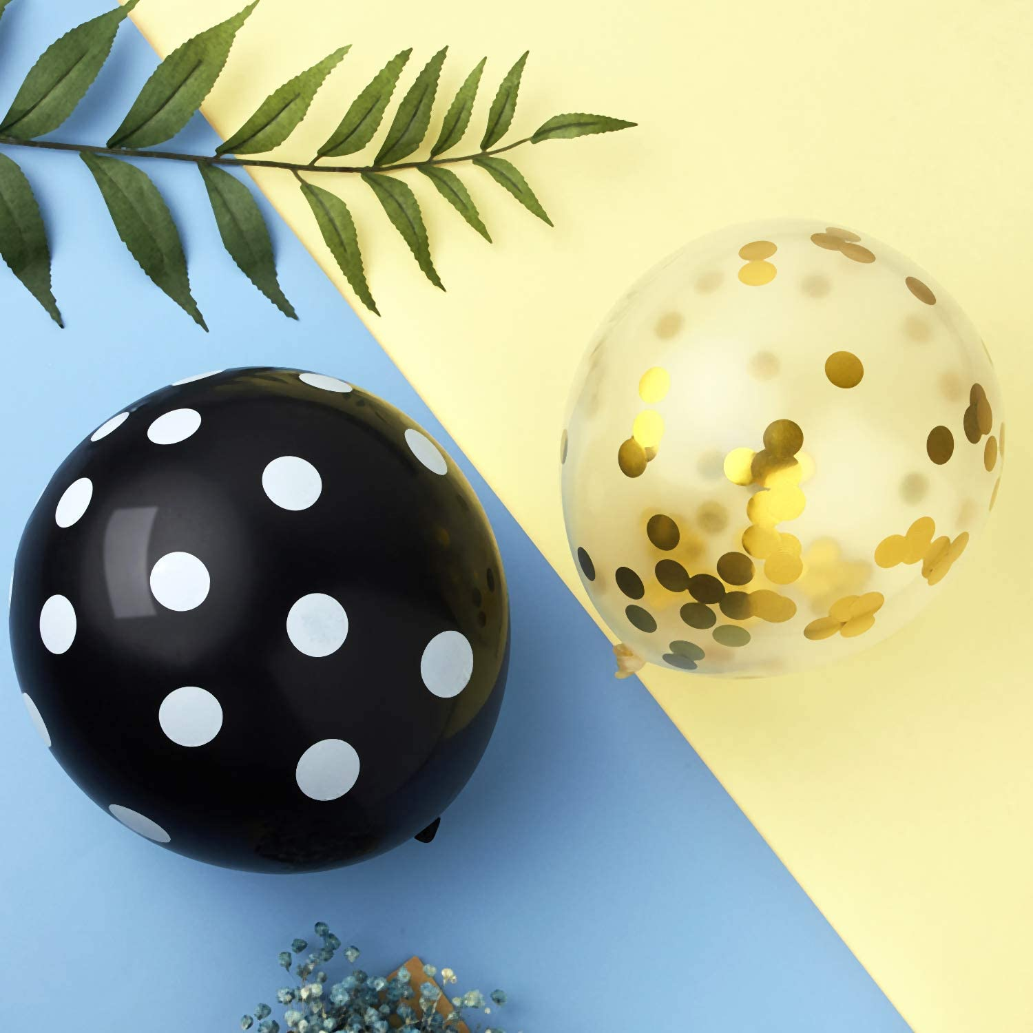 Includes 60 Pieces Latex Bumblebee Balloons Dots Confetti Balloons and 2 Pieces Gold Ribbon for Baby Shower Parties Favors Happy Bee Day Balloons Decorations Kit