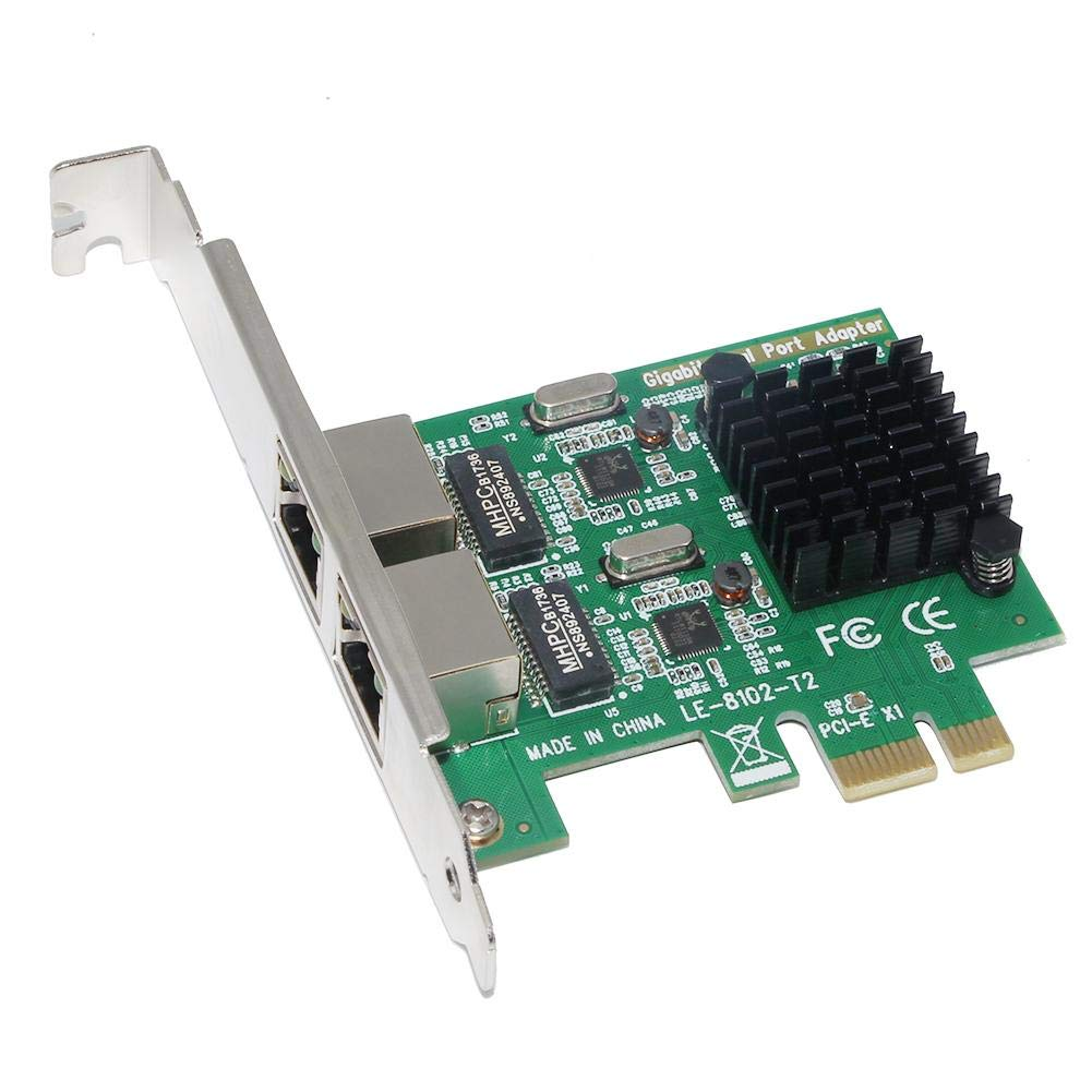 Everpert SSU 8120-T2 2 Port 1000Mbps Gigabit Ethernet PCI-E Network Card PCI Express RJ45 LAN Adapter for Desktop PC