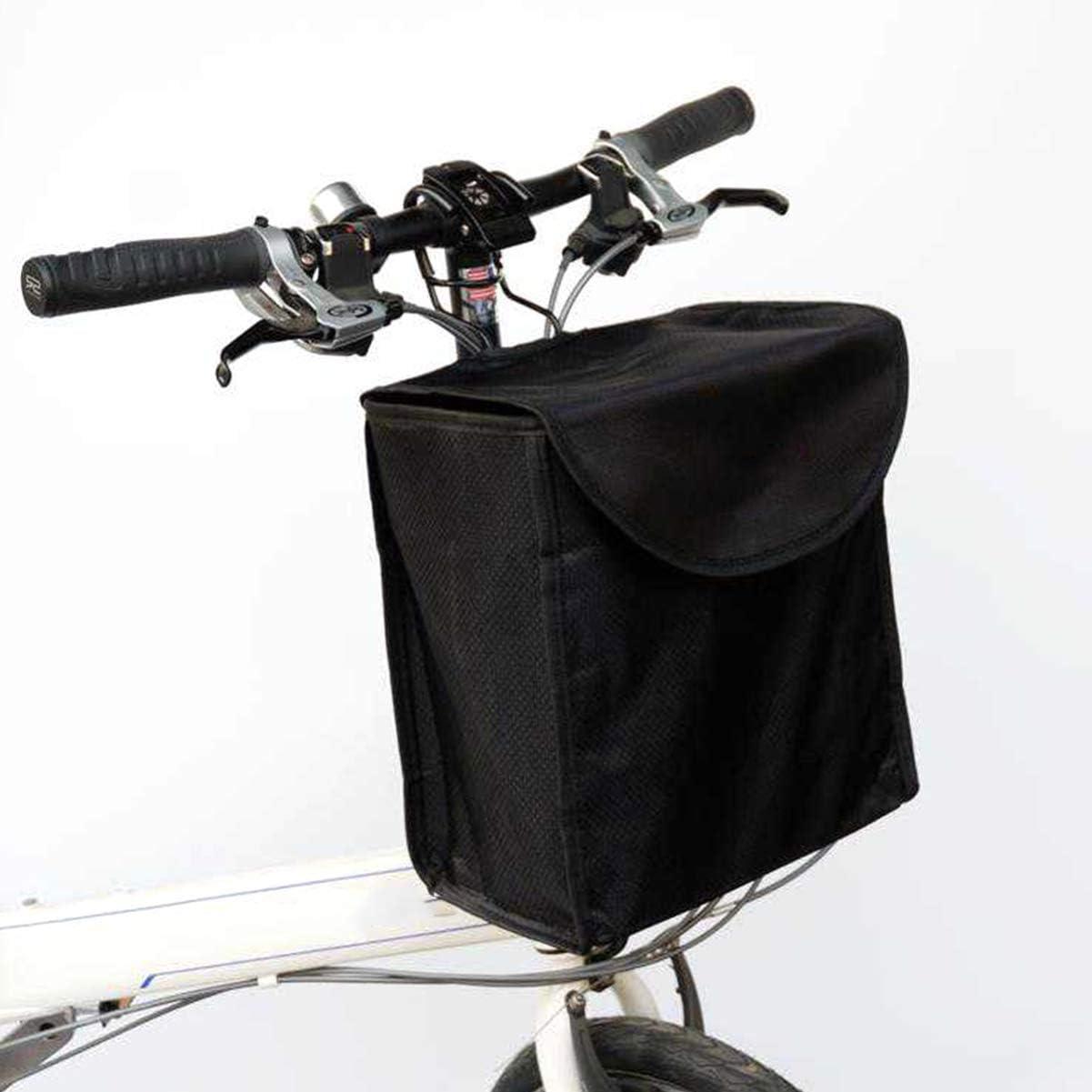 VOSAREA Fahrradkorbtr/äger Fahrradlenker Vorderkorb H/ängende Fahrradtasche mit Abdeckung f/ür Mountainbikezubeh/ör Fahrradrahmenkorb Schwarz
