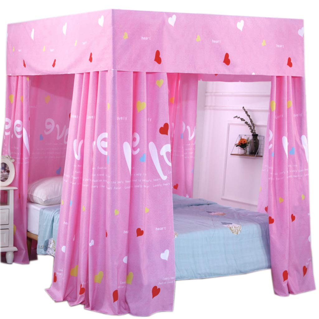 Obokidly Anti-Glare 4 Corner Post Bed Curtain Canopy;Windproof Lightproof Shading Four Corners Mosquito Netting for Baby Students Girls Bedding Room Outdoor (Pink, Twin XL)