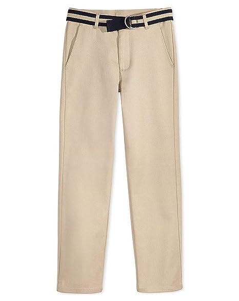 9cb4e4f0ded16f Amazon.com: Nautica Boys Flat-Front Belted Twill Uniform Pants: Clothing