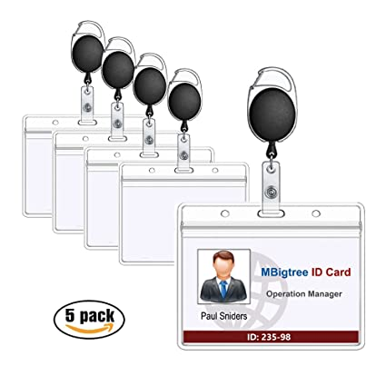 amazon com retractable id badge holder mbigtree horizontal heavy