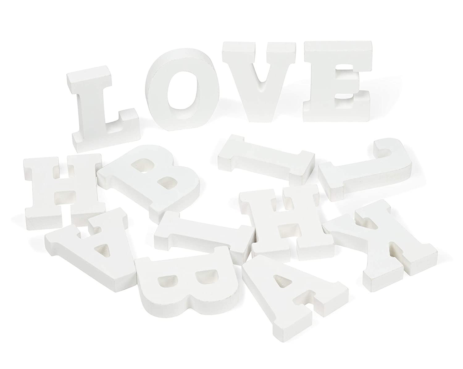 Genie Crafts White Wood Letters - 54-Piece Standing Wooden Alphabet and 2 Symbols, A - Z Marquee Letters, 1.38 x 3.13 x 0.6-Inch 3D Decor for Wedding, Birthday, Party, Home
