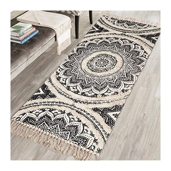 Cotton Area Rug, KIMODE Hand Chic Diamond Print Tassels Throw Rugs Door Mat Indoor Area Rugs for Bathroom,Bedroom,Living Room,Laundry Room (2' x 4.3', Mandala) - ★COTTON MATERIA: 45% Cotton+ 45% polyester+10% viscose, handmade woven rugs with extra snazzy knotted fringe tassels on each side, surface with block printed, reversible for double.(size not include tassel) ★3D TUFTED DESIGN: Hand tufted with a half inch of soft pile height which is plush underfoot yet withstands high traffic, a little tufted design with a cozy and luxurious feel. ★MANDALA AREA RUG: Decorative Moroccan pattern and throw it in your Porch, kitchen rug, bathroom rug, laundry Room,entry way rug, apartment rug, dorm room rug and more, it also can be used as a decorative tapestry to lighten your space. - runner-rugs, entryway-furniture-decor, entryway-laundry-room - 61kXNWM4EAL. SS570  -