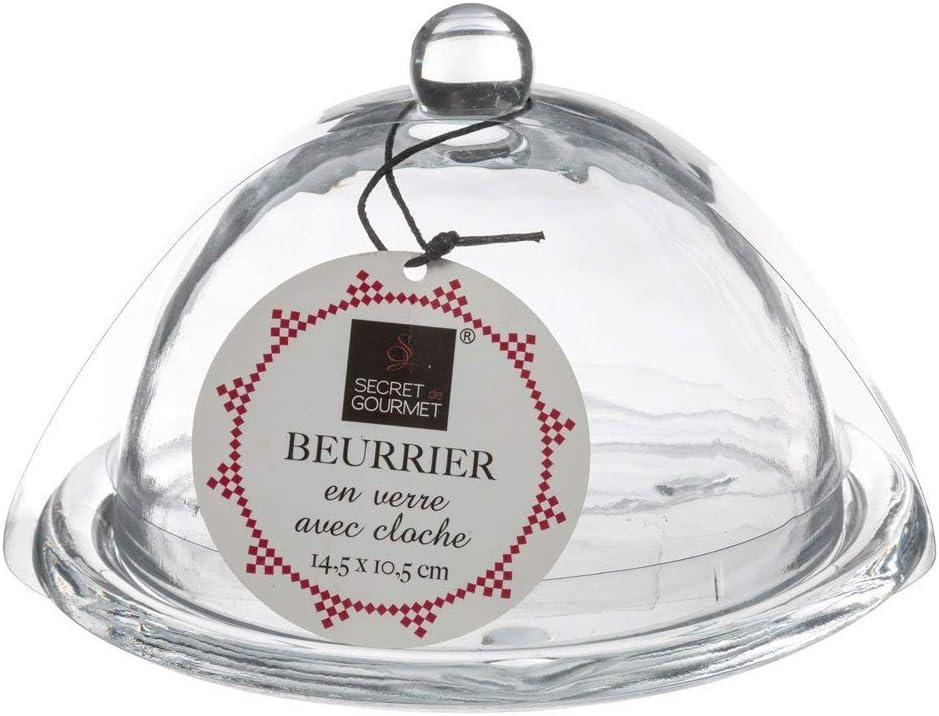 Gourmet Secret Butter Dish Glass Butter Dish with Bell 14.5 x 10.5 cm