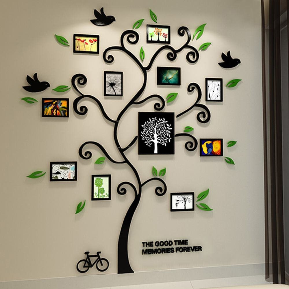 Alicemall Tree Wall Stickers Family Hope Tree of Life Black 3D Wall Decals Photo Frame Acrylic Decorative Wall Sticker Wall Art, 57 x 69 inch (Black) by Alicemall (Image #1)