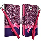 LG OPTIMUS L90 Case, Magnetic Closure Leather Flip Wallet Case with 2 Card Slots, Cash Compartment and Detachable Wrist Strap for LG Optimus L90 Wallet Case (Hot Pink Cheetah)