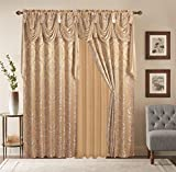 Golden Linen Luxury Curtain/Window Panel Set Diamond Collection 2pc Curtain Set with Attached Valance and Backing 55″X84″ Each (Gold)
