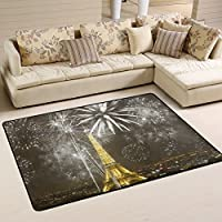 Paris Eiffel Tower Children Area Rugs 31 x 20 by DEYYA, Home Decoration Non-Slip Doormat Rugs for Living Room Bedroom Kitchen