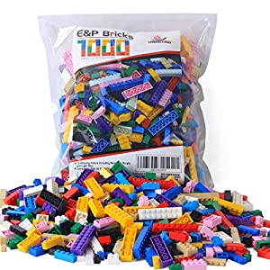 Interlocking Plastic Building Bricks 1000 Pieces Building Sets Alternative to Lego Building Blocks and Bulk Brick Kids' Toys for Boys and Girls - 61kXOKQ 2B4zL - EP EXERCISE N PLAY 1166 Piece Building Bricks Kit with Wheels, Tires, Axles, Windows ,Doors and Leaves, Flowers,Grass – Classic Colors – Compatible with All Major Brands(Colorful-1, 1166pcs)