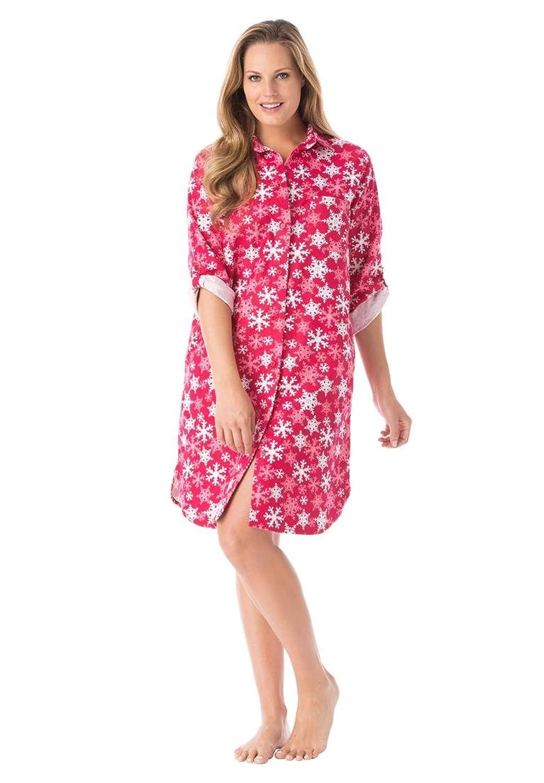 Roamans Women's Plus Size Button Front Plaid Flannel Sleepshirt