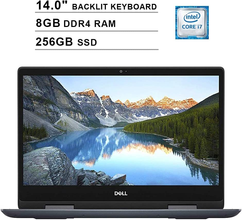 Dell Inspiron 14 5482 14 Inch FHD 2-in-1 Touchscreen Laptop (Intel Core i7-8565U up to 4.6 GHz, 8GB RAM, 256GB SSD, Backlit Keyboard, Bluetooth, WiFi, HDMI, Windows 10, Grey) (Renewed)