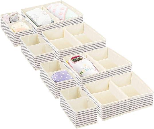 mDesign Juego de 8 Cajas de almacenaje para Cuarto Infantil y Ropa de bebé – Cesta organizadora Plegable en 2 tamaños – Organizador de armarios de Fibra sintética Transpirable – Crudo/Azul: Amazon.es: Hogar