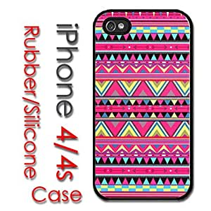 iPhone 4 4S Rubber Silicone Case - Pink Aztec Colorful pattern Print Trendy