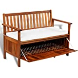 "Festnight Wooden Outdoor Patio Storage Bench Acacia Wood Garden Deck Box with Cushion Cabinet Chair, 47"" x 25"" x 33"""