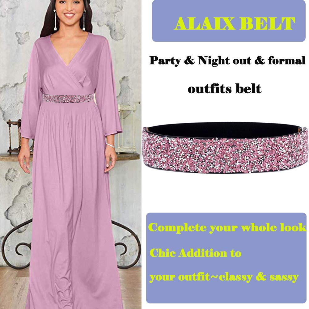 ALAIX Womens Stretchy Dress Belts Sparkle Bling Rhinestone Shiny Party Belt Elastic Waist Belt