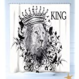 HAIXIA Shower-Curtains King Reign of The Jungle Forest Symbol of Courage Safari Animal Lion Grunge Design Decorative Dark Blue White