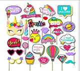 28PCS Rainbow Unicorn Photo Booth Props Kits Girl Birthday Party Supplies Decorations On A Stick