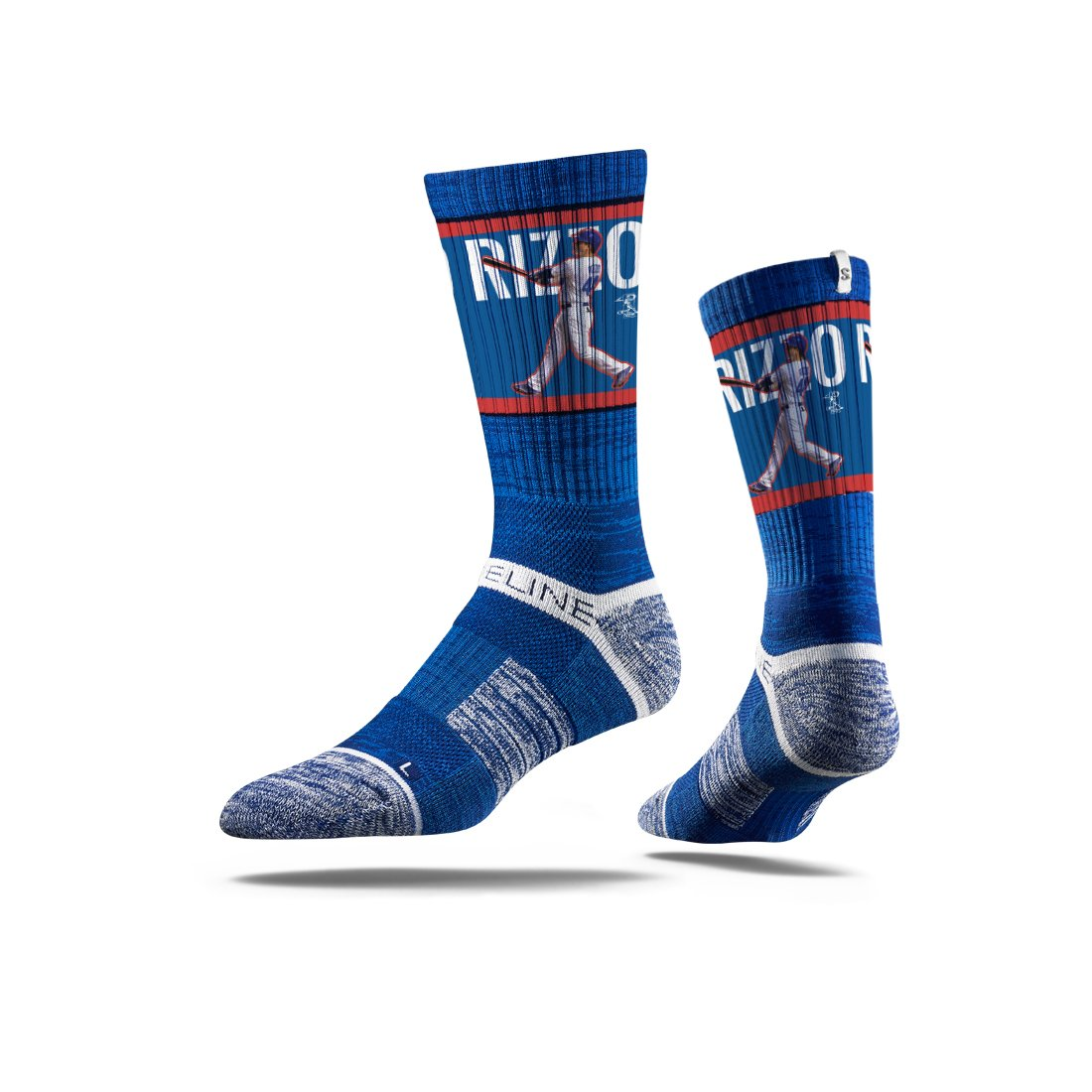 Strideline MLB PA Chicago Cubs Anthony Rizzo Premium Crew Socks, Blue, One Size